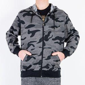 Темно-сірий чоловічий світшот в стилі камуфляж - Одяг